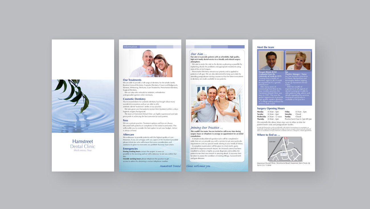 Hamstreet Dental Clinic Bi-Fold Leaflet design by CS Creative Studio
