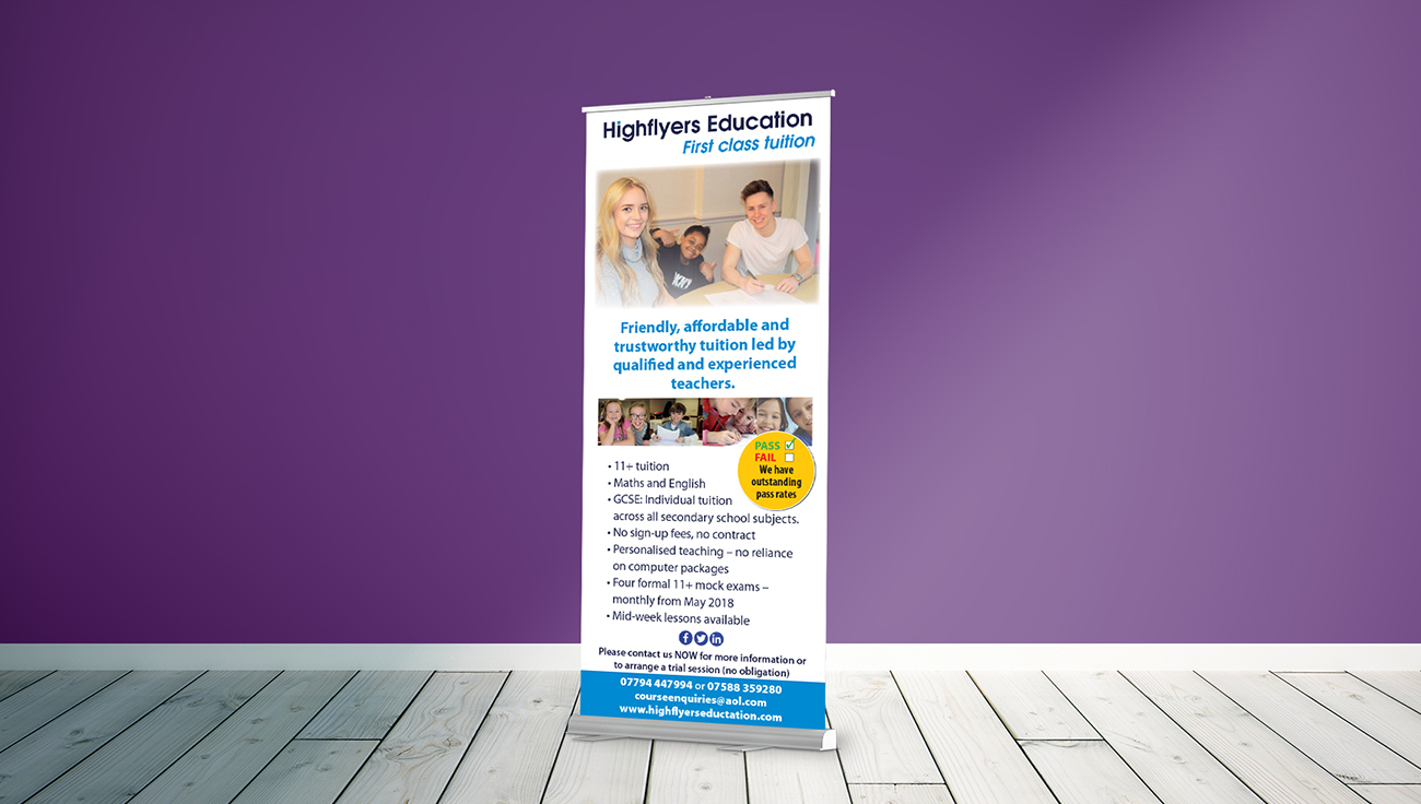 Highflyers pop-up roller banner design by CS Creative Studio