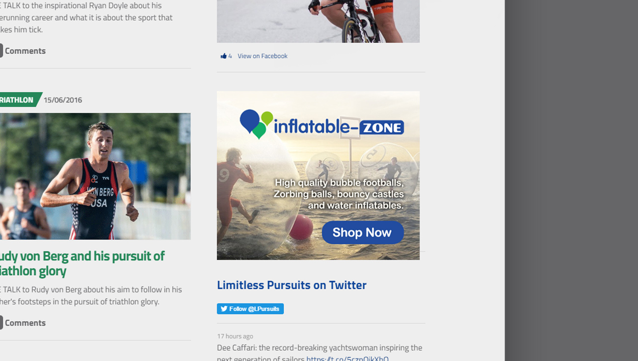Inflatable Zone website advert design by CS Creative Studio