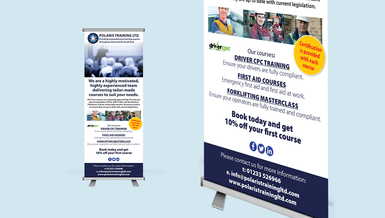 Polaris Training Ltd pop up roller banner by Dynamic ePower Info Pack design by CS Creative Studio