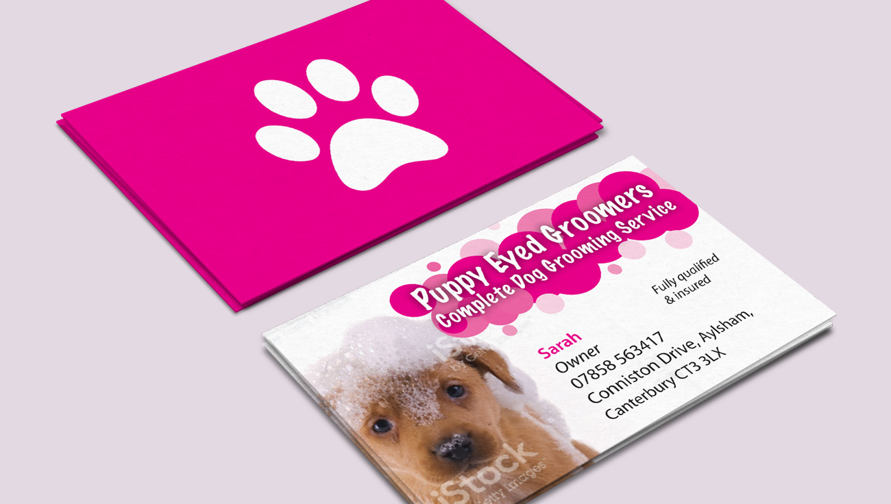 Puppy Eyed Groomers business card design by CS Creative Studio