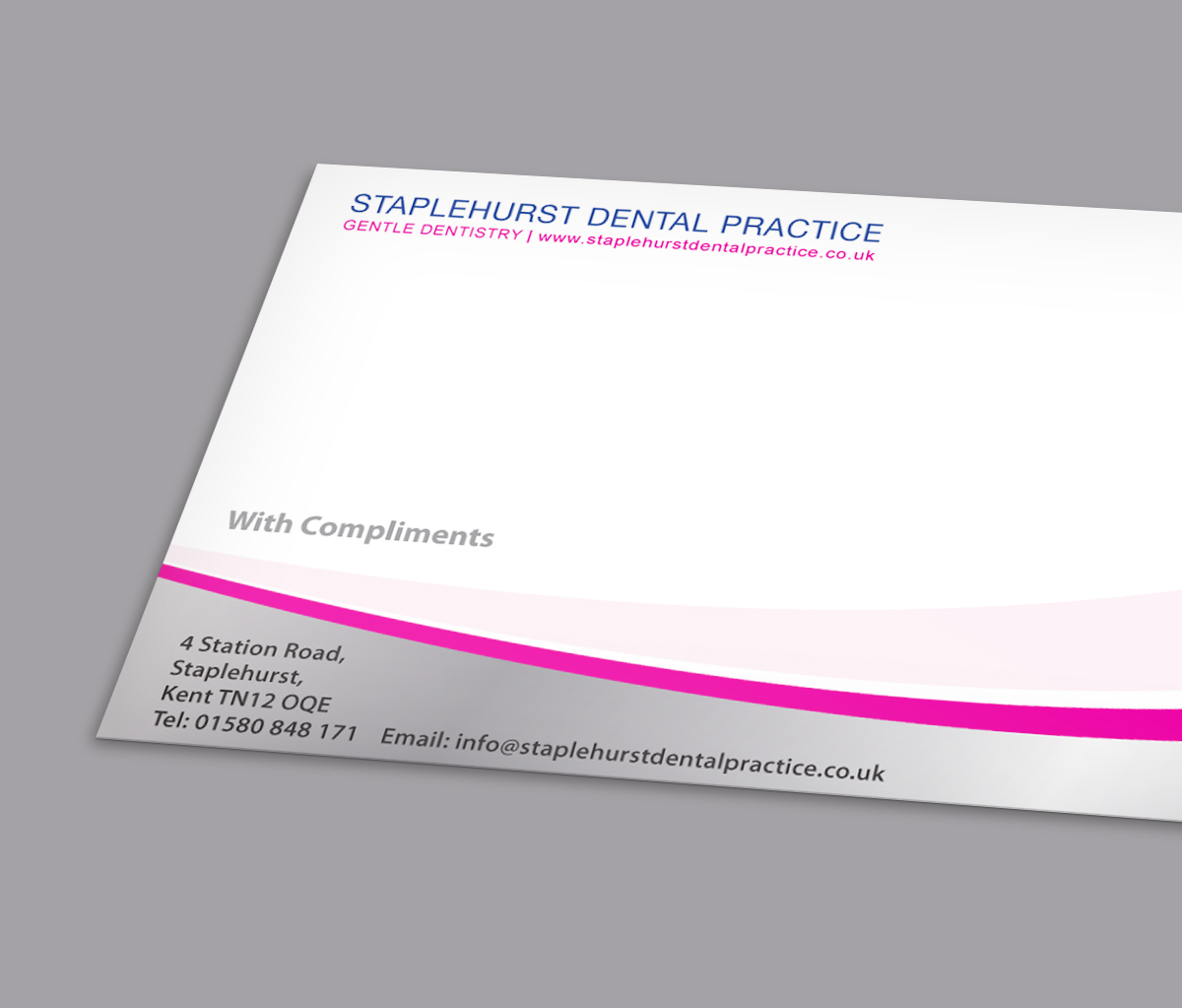 Staplehurst Dental Practice compliments slip design by CS Creative Studio