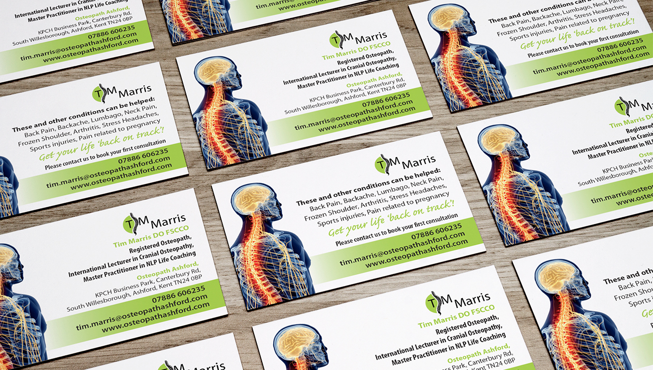 Tim Marris, Osteopath, business card design by CS Creative Studio
